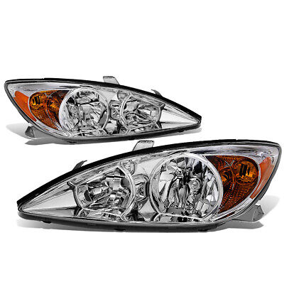 Fit 2002-2004 Toyota Camry Pair Chrome Housing Amber Corner Headlight/Lamp Set