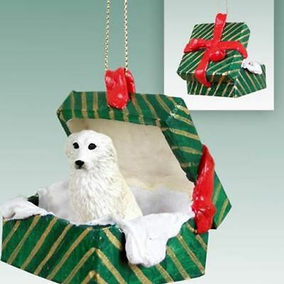 Great Pyrenees Dog Green Gift Box Holiday Christmas ORNAMENT