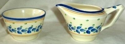 Crown Ducal Cream & Sugar Blue Leaves on Ivory Art Deco Made in England