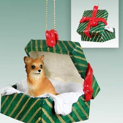 Chihuahua Tan White Longhaired Dog Green Gift Box Holiday Christmas ORNAMENT