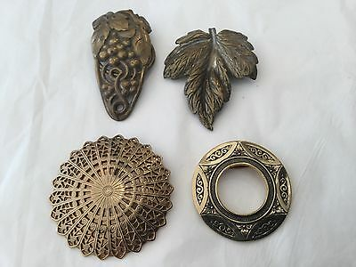Vintage Lot of 4  brass  fur dress scarf clips leaves grapes circles