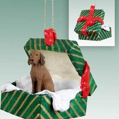 Vizsla Dog Green Gift Box Holiday Christmas ORNAMENT
