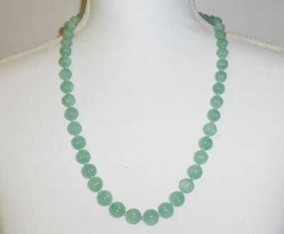 """Vintage China Export Melon Ball Carved Beads 26"""" Chrysoprase Strand Necklace"""