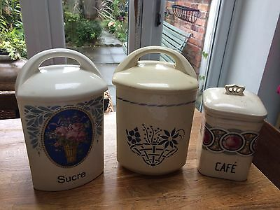 Collection Of Three Vintage French Kitchen Pots