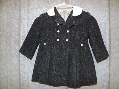 Vtg 1930s 1940s Girls Wool Double Breasted Pea Coat Insulated Winter Jacket Sz 3