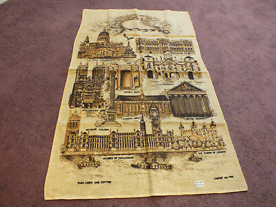 "Collectible Tapestry Table Runner Souvenier ""LONDON"" Signed Irish Linen 30x19"""