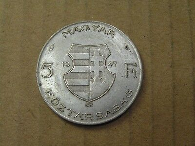 1947 Hungary 5 Forint Silver Coin, Lajos Kossuth, 32 mm