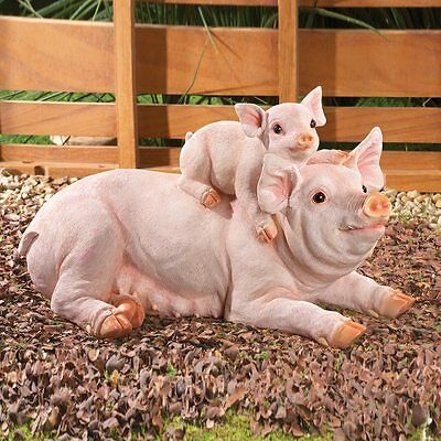 Country Farm Piglet Statue Mom & Baby Pig Garden Sculpture NEW