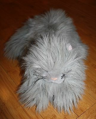 """Vintage Plush Creations Life Size Realistic Gray Persian Cat 16"""" Long Hair 1989"""