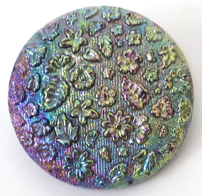 Victorian Iridescent Carnival Glass Button Raided Flowers Leaves 1 1/8 inches