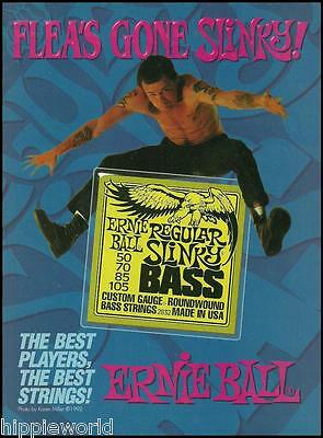 Red Hot Chili Peppers Flea Ernie Ball Guitar Strings ad 8 x 11 advertisement