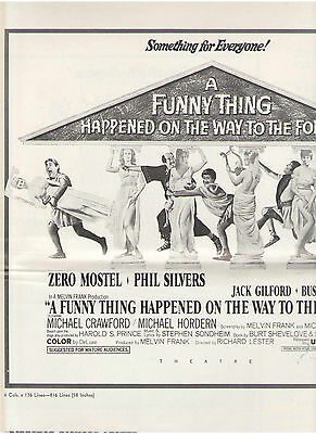 A Funny Thing Happened On Way To Forum Mostel Buster Keaton Silvers Pressbook