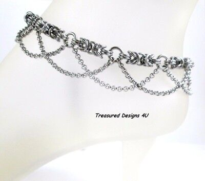 Stainless Steel Chain Mail Anklet Jewelry Chains Byzantine Weave Add Swarovski