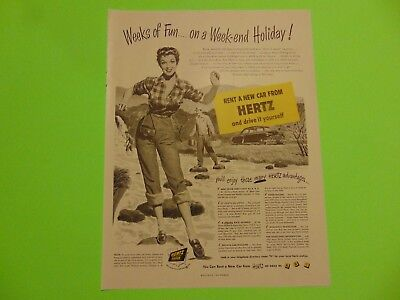 1950-HERTZ Rent A New Car and Drive it Yourself -vintage print ad 797