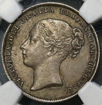 1860 NGC AU 53 Silver Shilling Victoria Key Date GREAT BRITAIN Coin (16110618C)