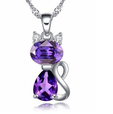 "Sterling Silver Cubic Zirconia Amethyst Kitty Cat Pendant Necklace 18"" Chain Box"