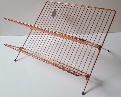 New Copper Rose Gold Folding Kitchen Sink Dish Drainer Wire Metal Foldable Rack