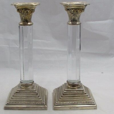 Superb Pair Vintage Column Candlesticks Topazio Portugal Silver Plated And Glass