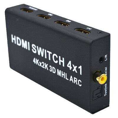 4In 1OUT HDMI Switch 4-Port mit Optical Toslink Coaxial L/R Audio Ausgang