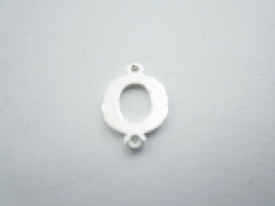 1 connettore 2 fori  lettera O in argento 925 made in italy misure 11 x 6 mm