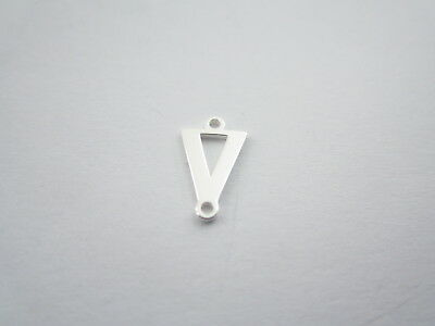 1 connettore 2 fori  lettera V in argento 925 made in italy misure 11 x 6 mm