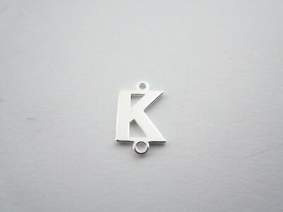 1 connettore 2 fori  lettera K in argento 925 made in italy misure 11 x 6 mm