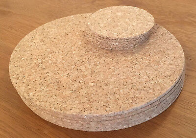 Vintage Round Cork Placemats Drinks Coasters Kitchen Dining Table Mats Tablemats