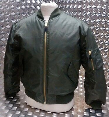 MA1 US Military Style Bomber Jacket MOD/Scooter/Bikers All Sizes Green OD - NEW