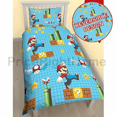 Nintendo Super Mario Maker Single Rotary Duvet Cover Set Childrens Bedding New