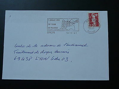 bicycle cycling Tour de France 1991 postmark on cover