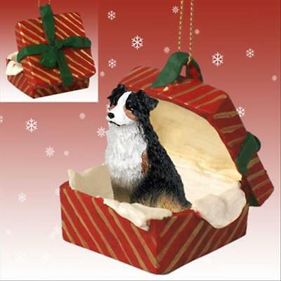 Australian Shepherd Tricolor Dog RED Gift Box Holiday Christmas ORNAMENT