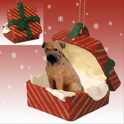 Bullmastiff Dog RED Gift Box Holiday Christmas ORNAMENT