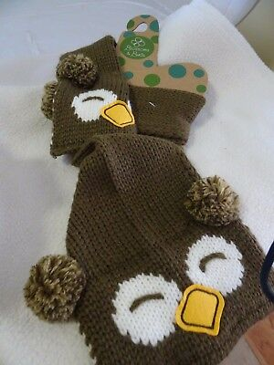 Blossoms & Buds Youth Boy Or Girl Brown Knit Scarf-Owl Theme-Nwt!