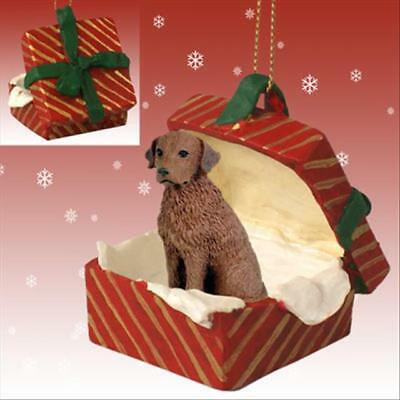 Chesapeake Bay Retriever Dog RED Gift Box Holiday Christmas ORNAMENT