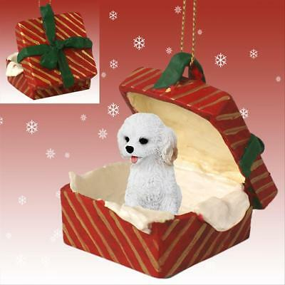 Cockapoo White Dog RED Gift Box Holiday Christmas ORNAMENT