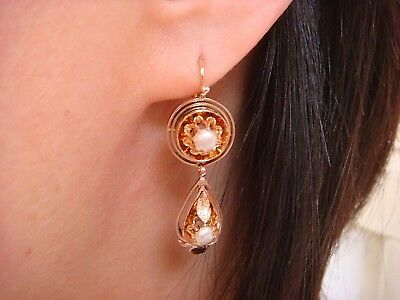 "Victorian 14K Rose Gold Dangle Earrings With Small Pearls, 7.1 Grams, 1.4"" Long"