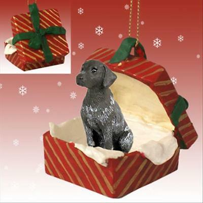 German Shorthaired Pointer Dog RED Gift Box Holiday Christmas ORNAMENT