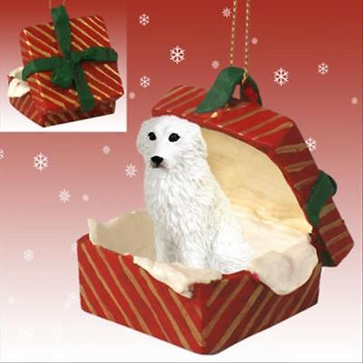 Great Pyrenees Dog RED Gift Box Holiday Christmas ORNAMENT