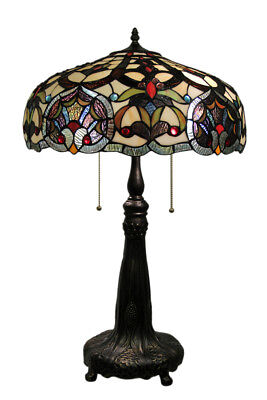 Zeckos Victorian Style Bronze Finish Stained Glass Table Lamp Dual Bulbs