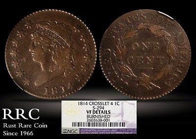 1814 Classic Head Large Cent NGC VF Details, Burnished, Crosslet 4, S-294
