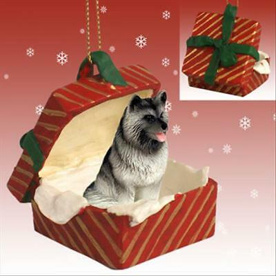 Keeshond Dog RED Gift Box Holiday Christmas ORNAMENT