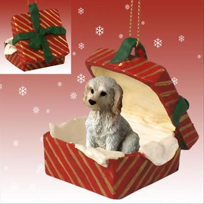 Labradoodle Cream Dog RED Gift Box Holiday Christmas ORNAMENT