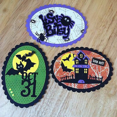 3 X Large Handmade Layered Oval Toppers-Halloween Spider Bat Haunted House