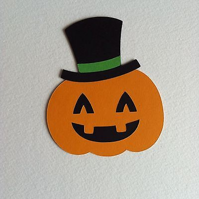 6 X Large Jack O Lantern With Hat Die Cut Shapes-Assembled-Halloween Pumpkin