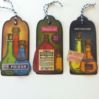 3 X Large Handmade Tag Toppers-Cardmaking-Halloween Alchemy Potion Bottle Poison