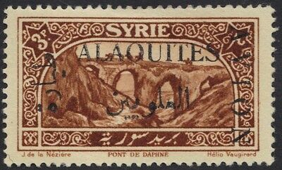 SYRIA ALAOUITES 1925 AIRMAIL 3pi OVPTD AVION IN BLACK & INVERTED SG 14a UNLISTED