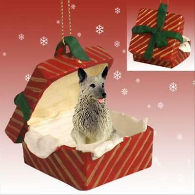 Norwegian Elkhound Dog RED Gift Box Holiday Christmas ORNAMENT