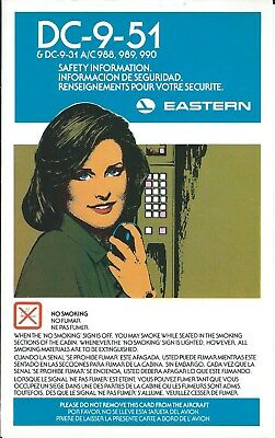Safety Card - Eastern - DC-9 51 and specific 31 series  - c1983  (S3802)