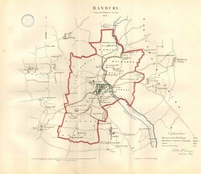 BANBURY town/borough plan. REFORM ACT. Wroxton. Oxfordshire. DAWSON 1832 map