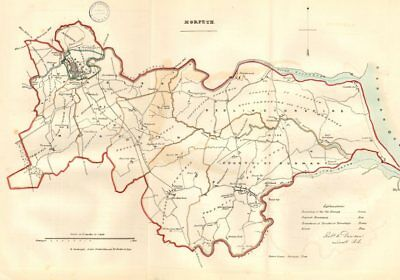 MORPETH town/borough plan. REFORM ACT. Bedlington Northumberland.DAWSON 1832 map